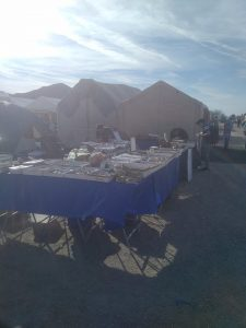 We had just set up at Our Booth #G8 Quartzsite Desert Gardens Rock Gem & Mineral Show 2018 -3